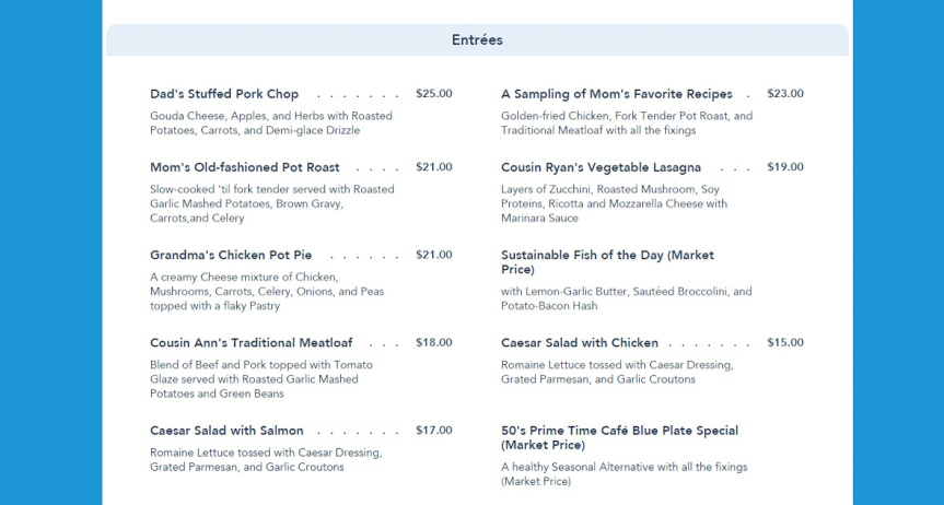 S Primetime Cafe Menu Disney World